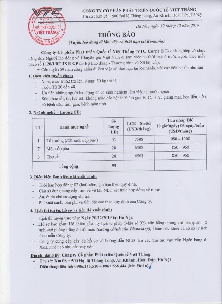 [RUMANI] TUYỂN ĐƠN XÂY DỰNG LƯƠNG CAO 950 USD/THÁNG. TRỰC TIẾP NGÀY 20/12/2019 2